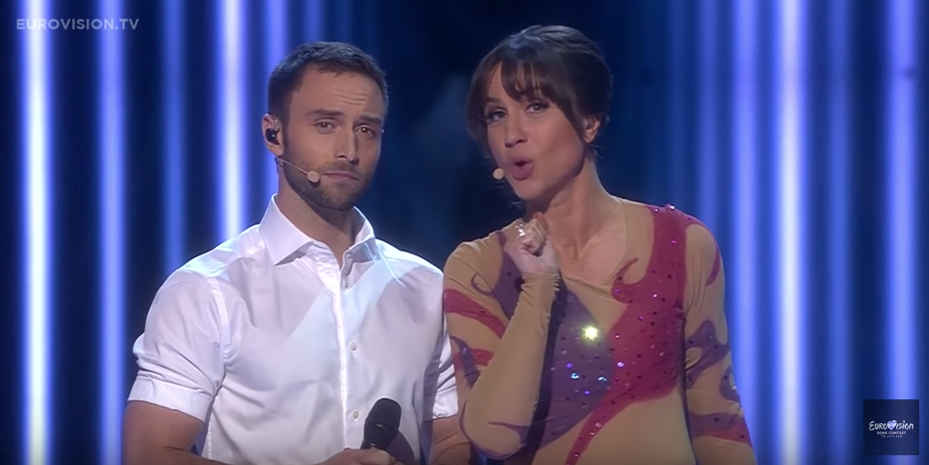 Måns Zelmerlöw & Petra Mede performing at Eurovision Grand Final