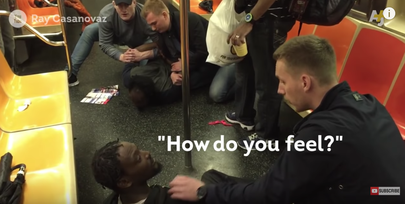 Swedish cops stops a fight in NYC underground