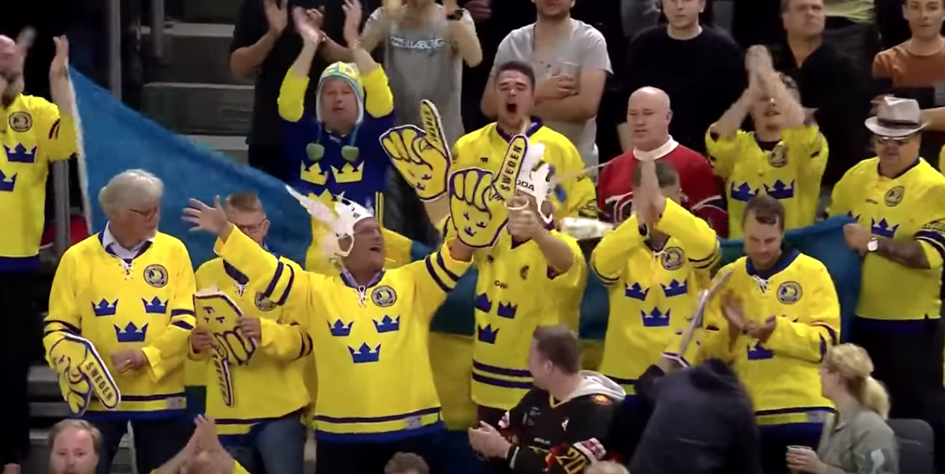 Swedish fans sing their nation anthem in the Ice hockey World Championship 2017