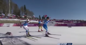 The Swedish cross-country ski team wins the relay gold medal in the 2014 Winter Olympics after a marvellous performance by Charlotte Kalla.